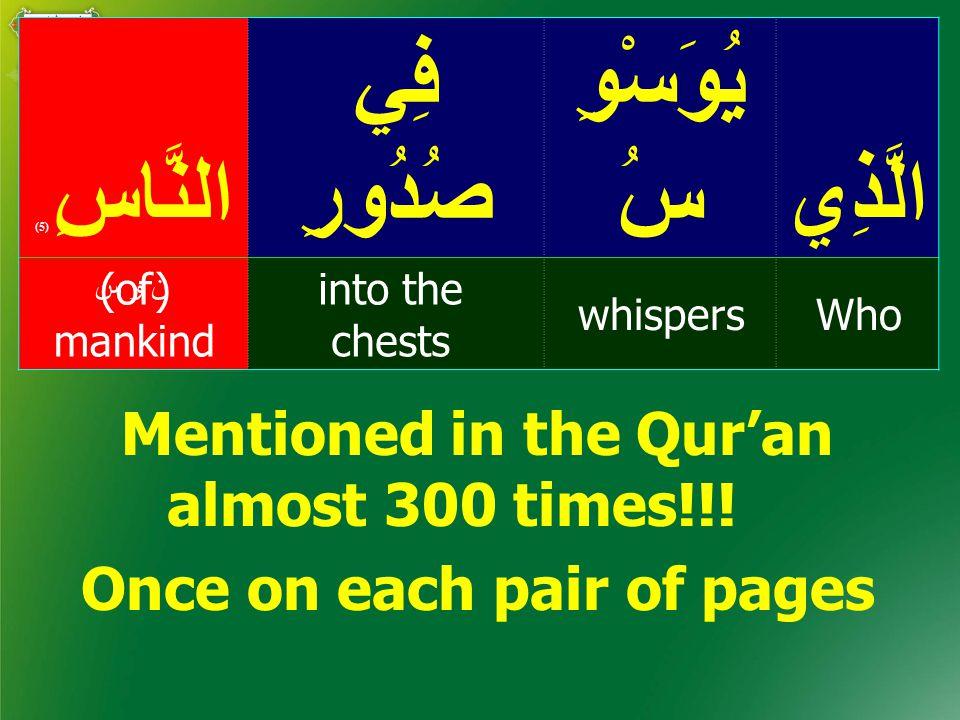 الَّذِي يُوَسْوِ سُ فِي صُدُورِالنَّاسِ ( 5) Whowhispers into the chests (of) mankind ن و س Mentioned in the Qur'an almost 300 times!!.