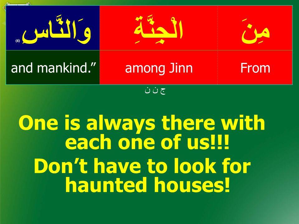 مِنَالْجِنَّةِوَالنَّاسِ ( 6) Fromamong Jinnand mankind. ج ن ن One is always there with each one of us!!.