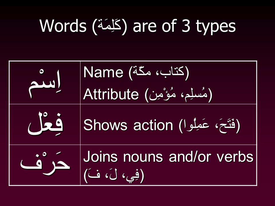 Words ( كَلِمَة ) are of 3 types اِسْم Name (كتاب، مكّة) Attribute (مُسلِم، مُؤْمِن) فِعْل Shows action (فَتَحَ، عَمِلُوا) حَرْف Joins nouns and/or verbs (فِي، لَ، فَ)