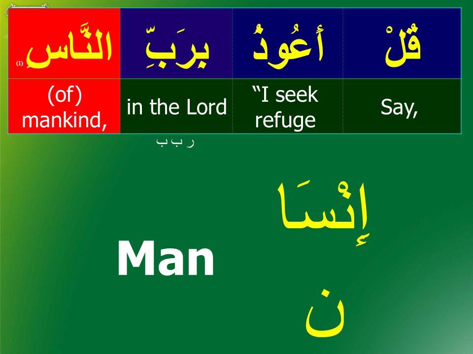 قُلْأَعُوذُبِرَبِّالنَّاسِ ( 1) Say, I seek refuge in the Lord (of) mankind, ر ب ب Man إِنْسَا ن people نَاس