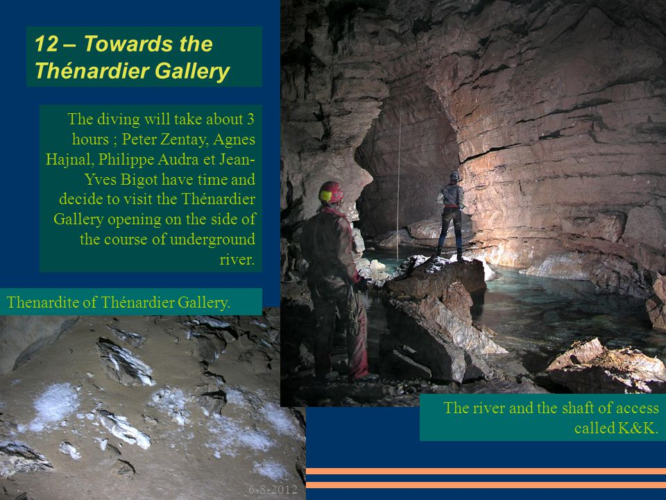 The diving will take about 3 hours ; Peter Zentay, Agnes Hajnal, Philippe Audra et Jean- Yves Bigot have time and decide to visit the Thénardier Gallery opening on the side of the course of underground river.