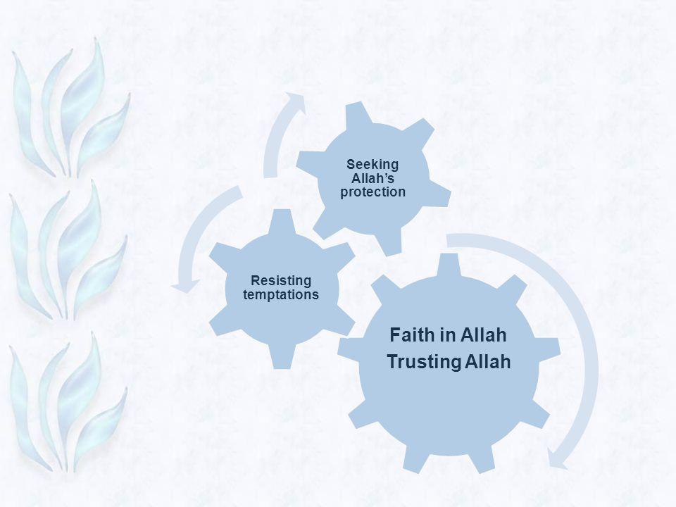 Faith in Allah Trusting Allah Resisting temptations Seeking Allah's protection