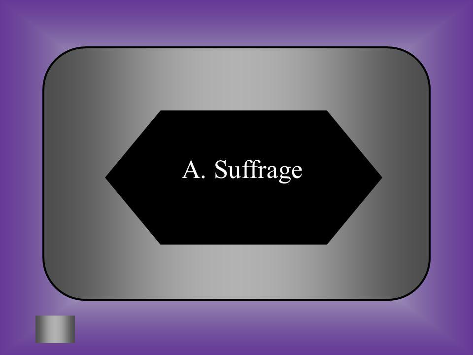 A:B: SuffrageNullification #8 Right to vote. C:D: Spoils systemsMajority