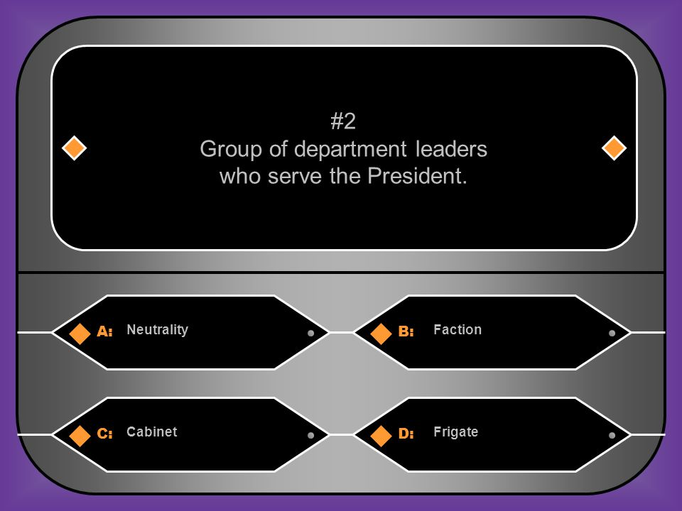 A:B: NeutralityFaction #2 Group of department leaders who serve the President. C:D: CabinetFrigate