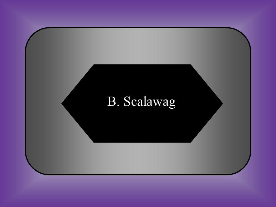 A:B: FreedmanScalawag #25 Term for a white southern Republican. C:D: Carpetbagger Sharecropper