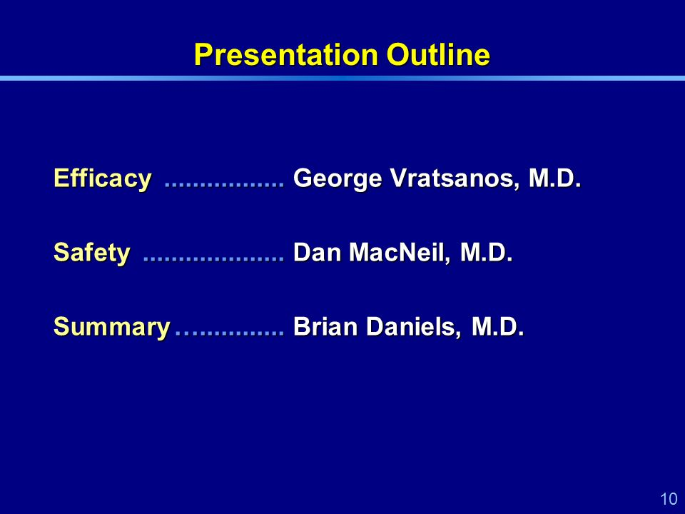 10 Presentation Outline Efficacy.................George Vratsanos, M.D.