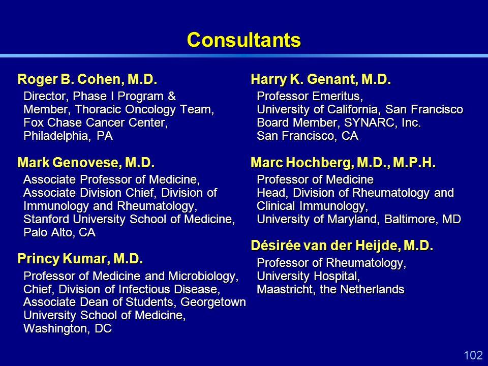 102 Consultants Roger B. Cohen, M.D. Director, Phase I Program & Member, Thoracic Oncology Team, Fox Chase Cancer Center, Philadelphia, PA Mark Genove