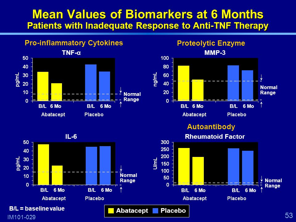 53 Mean Values of Biomarkers at 6 Months Patients with Inadequate Response to Anti-TNF Therapy IM101-029 TNF-α IL-6 MMP-3 Rheumatoid Factor Pro-inflammatory Cytokines Proteolytic Enzyme Autoantibody AbataceptPlacebo B/L6 MoB/L6 Mo B/L6 MoB/L6 Mo B/L6 MoB/L6 Mo B/L6 MoB/L6 Mo Normal Range B/L = baseline value