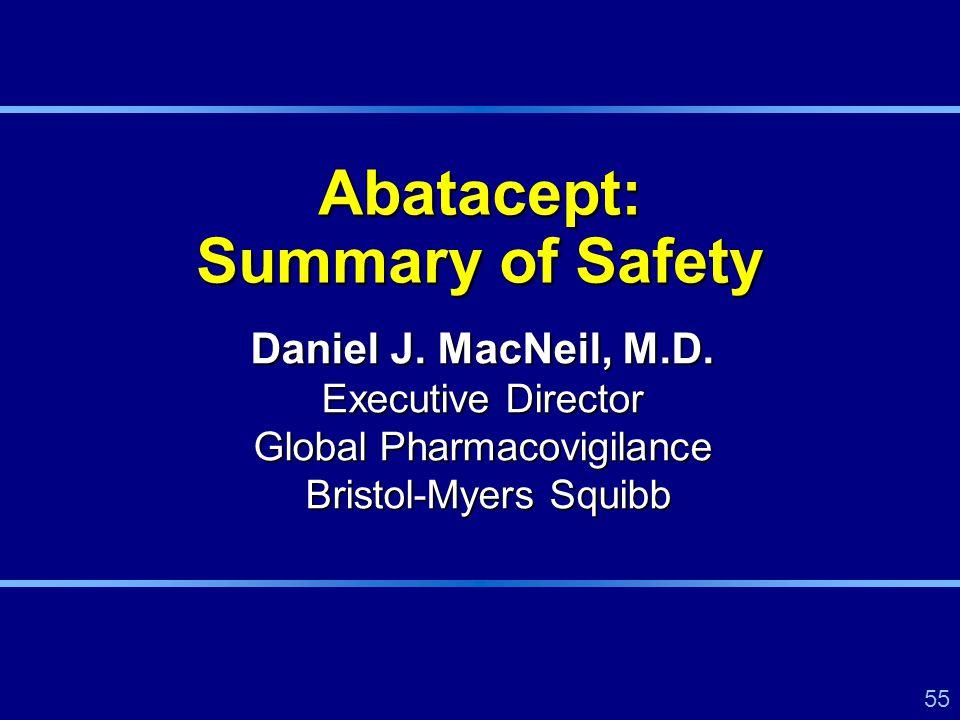 55 Daniel J. MacNeil, M.D. Executive Director Global Pharmacovigilance Bristol-Myers Squibb Abatacept: Summary of Safety