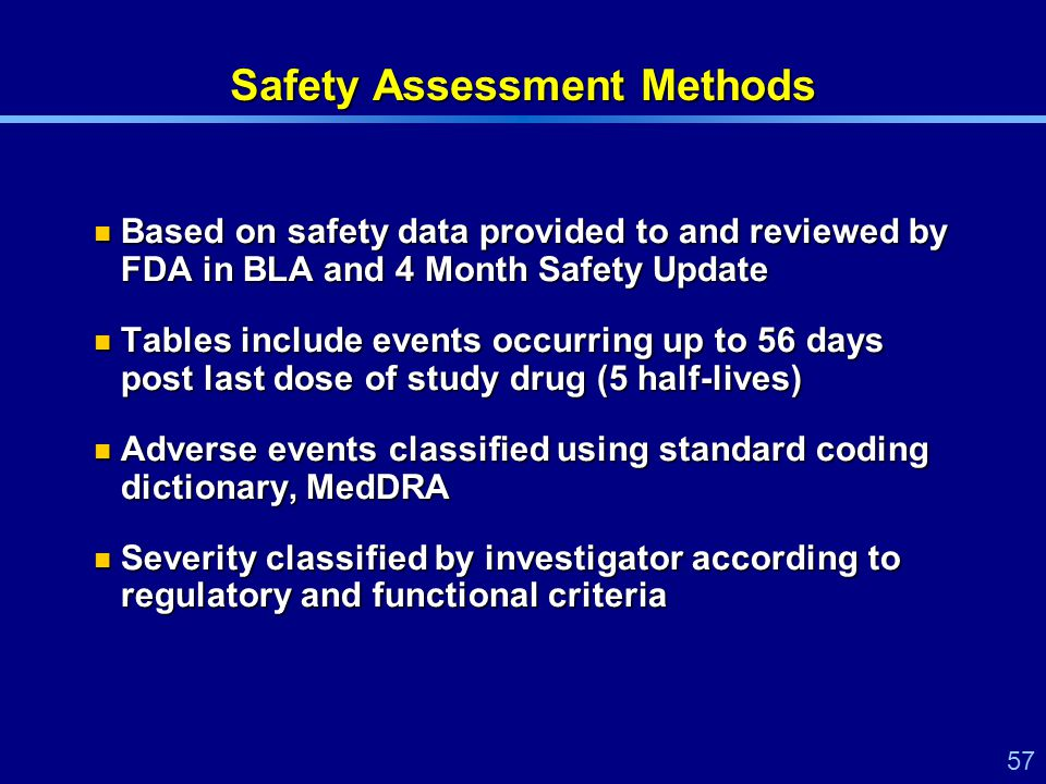 57 Safety Assessment Methods Based on safety data provided to and reviewed by FDA in BLA and 4 Month Safety Update Based on safety data provided to and reviewed by FDA in BLA and 4 Month Safety Update Tables include events occurring up to 56 days post last dose of study drug (5 half-lives) Tables include events occurring up to 56 days post last dose of study drug (5 half-lives) Adverse events classified using standard coding dictionary, MedDRA Adverse events classified using standard coding dictionary, MedDRA Severity classified by investigator according to regulatory and functional criteria Severity classified by investigator according to regulatory and functional criteria