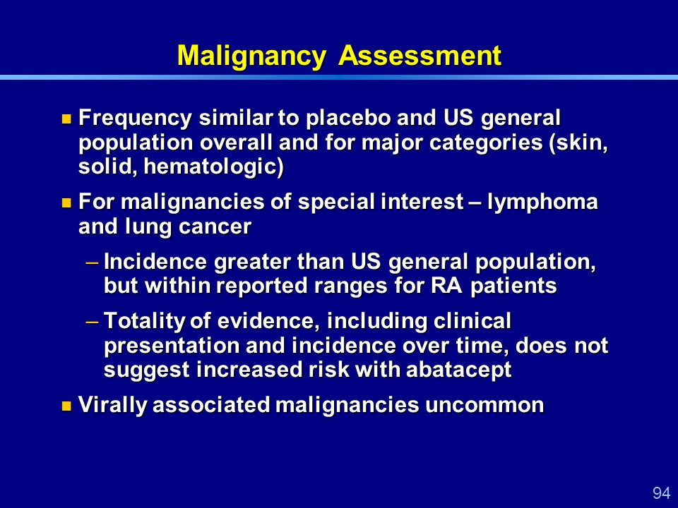 94 Malignancy Assessment Frequency similar to placebo and US general population overall and for major categories (skin, solid, hematologic) Frequency similar to placebo and US general population overall and for major categories (skin, solid, hematologic) For malignancies of special interest – lymphoma and lung cancer For malignancies of special interest – lymphoma and lung cancer –Incidence greater than US general population, but within reported ranges for RA patients –Totality of evidence, including clinical presentation and incidence over time, does not suggest increased risk with abatacept Virally associated malignancies uncommon Virally associated malignancies uncommon