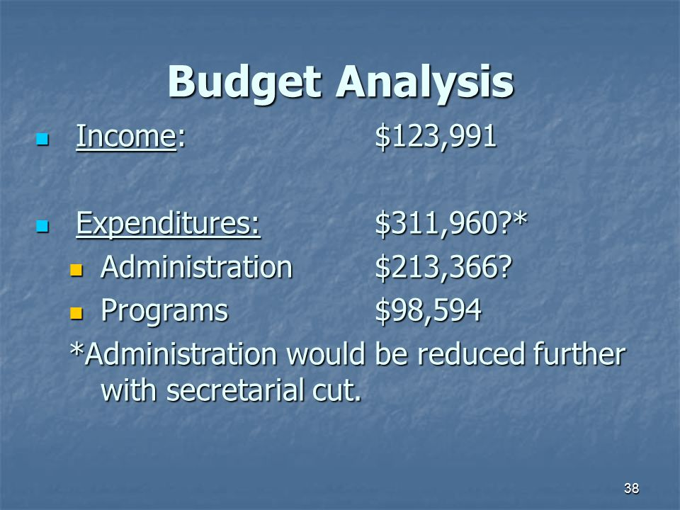 38 Budget Analysis Income: $123,991 Income: $123,991 Expenditures:$311,960?* Expenditures:$311,960?* Administration$213,366.