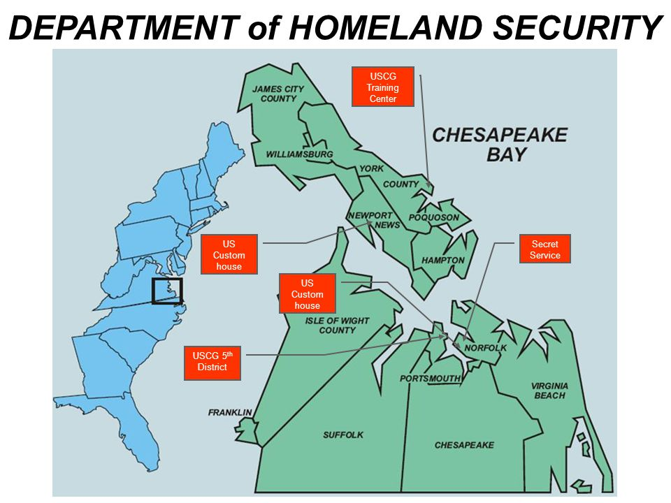DEPARTMENT of HOMELAND SECURITY USCG 5 th District USCG Training Center US Custom house US Custom house Secret Service