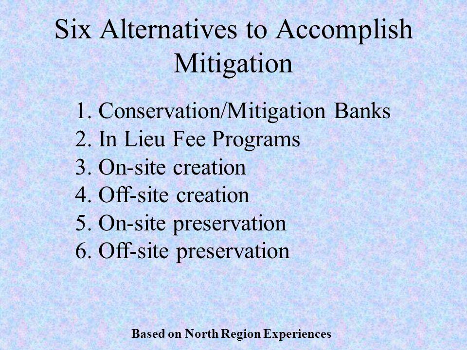 Six Alternatives to Accomplish Mitigation 1.Conservation/Mitigation Banks 2.In Lieu Fee Programs 3.On-site creation 4.Off-site creation 5.On-site pres