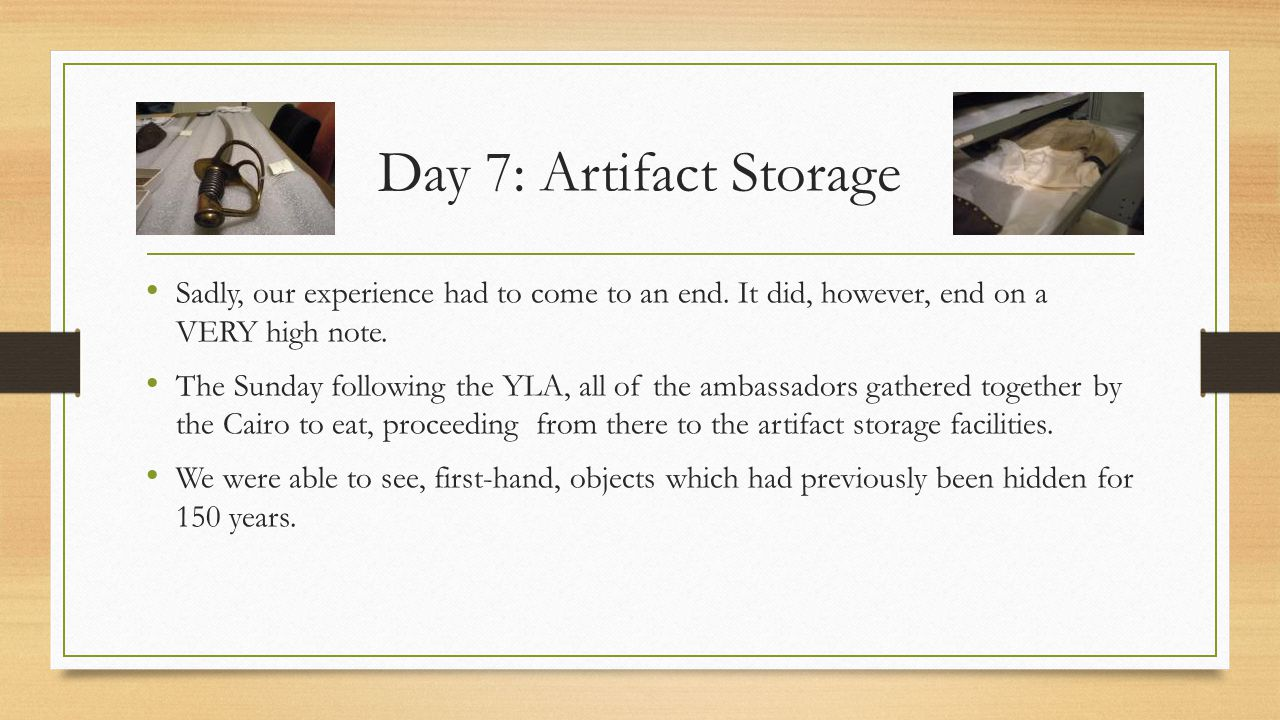Day 7: Artifact Storage Sadly, our experience had to come to an end.