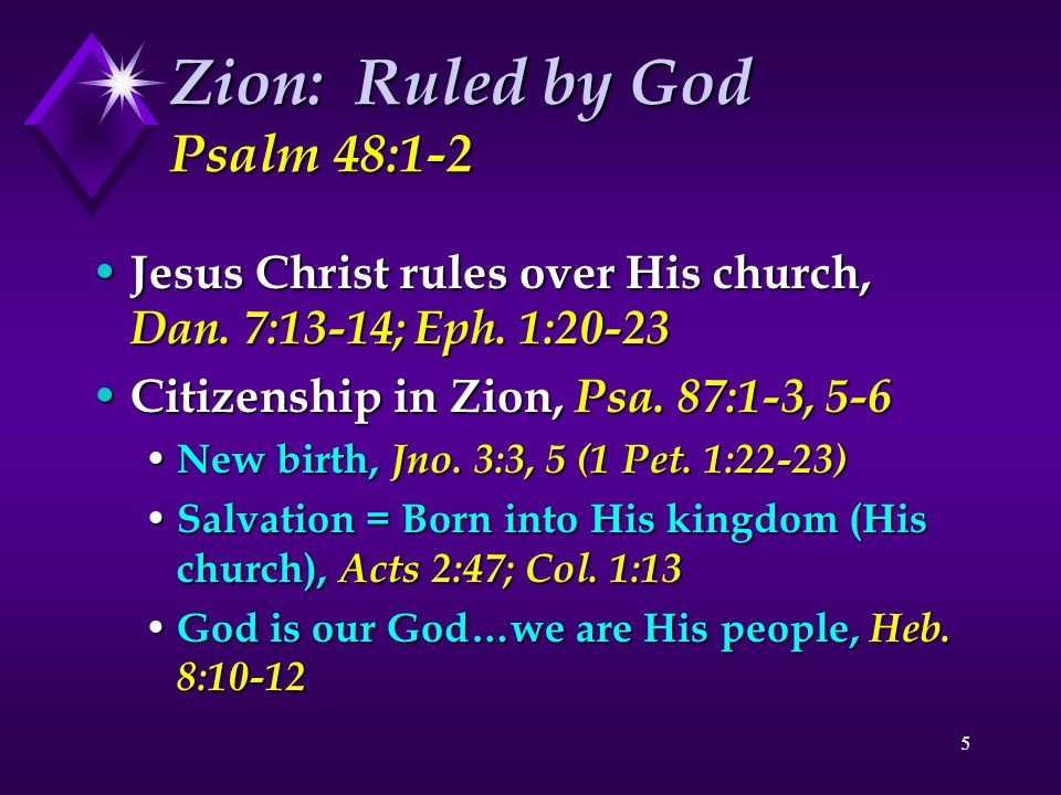 6 Zion: A Place of Refuge Psalm 48:3-8 Lord is church's refuge, 48:3; Heb.