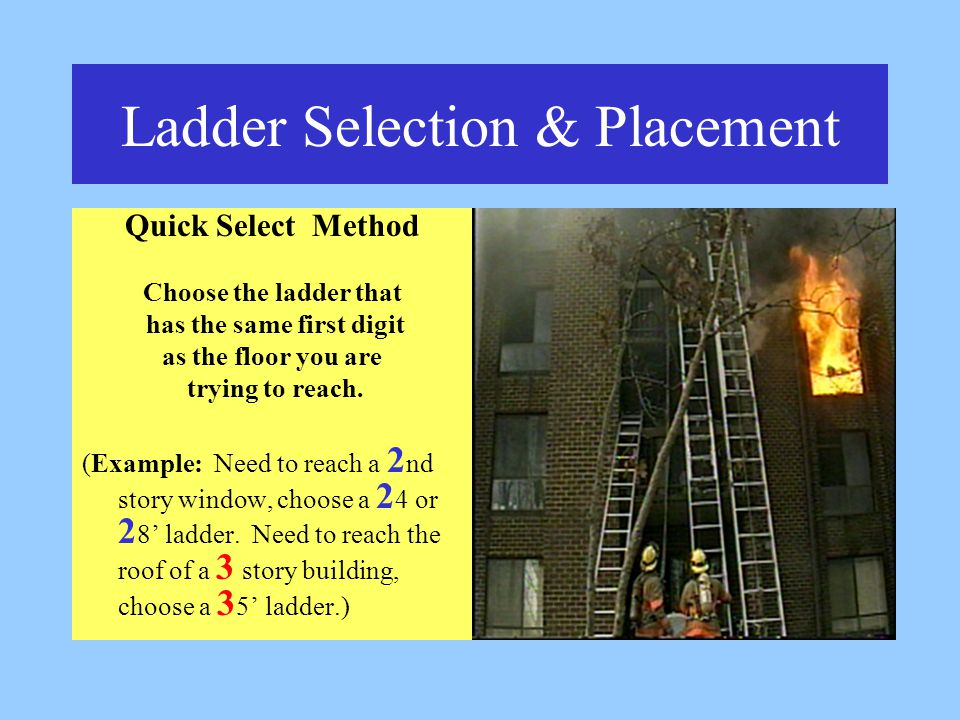 Ladder Selection & Placement Quick Select Method Choose the ladder that has the same first digit as the floor you are trying to reach.