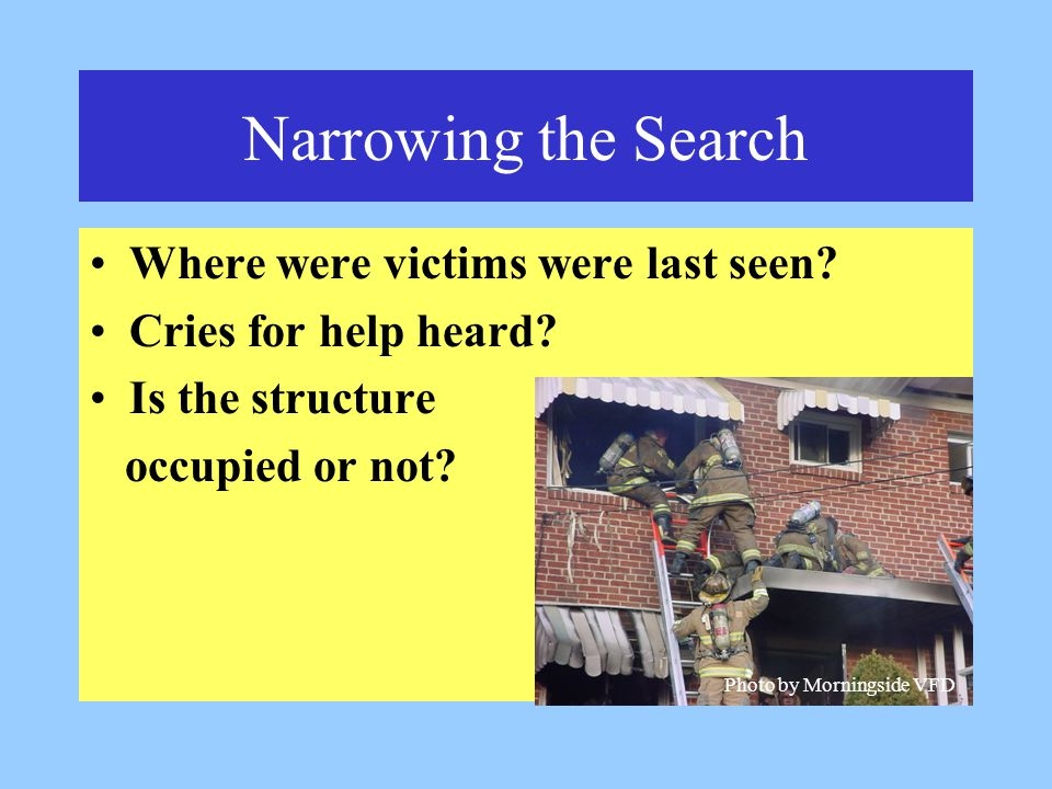 Narrowing the Search Where were victims were last seen.