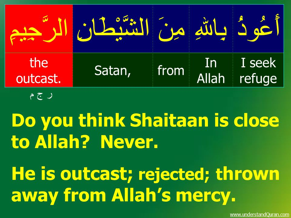 www.understandQuran.com أَعُوذُبِاﷲِمِنَالشَّيْطَانِالرَّجِيمِ I seek refuge In Allah fromSatan, the outcast. ر ج م ر ج م Do you think Shaitaan is clo