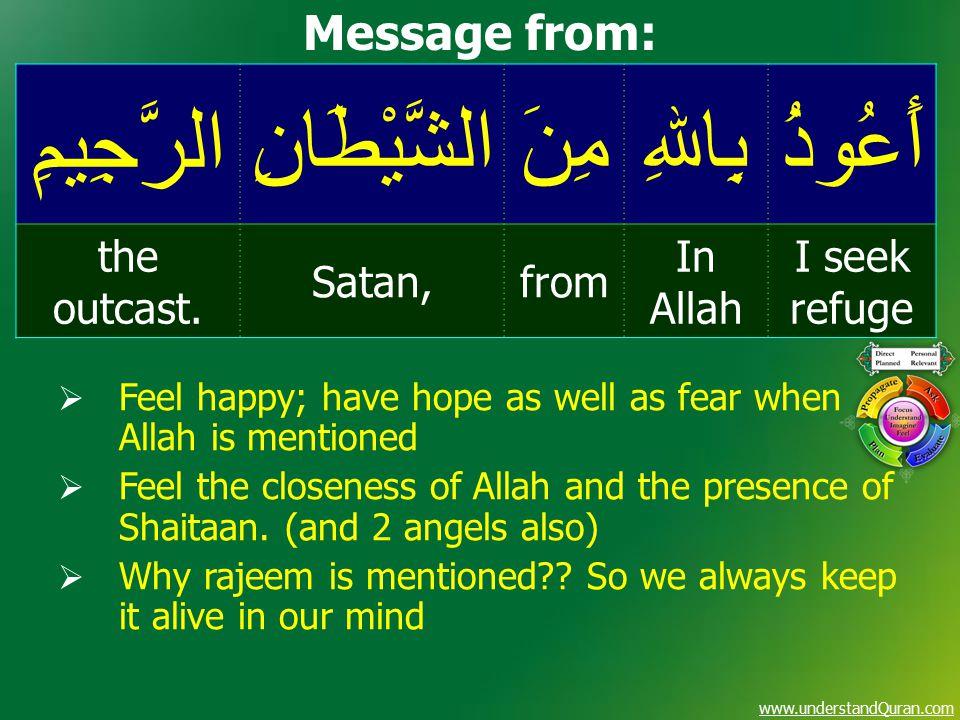 www.understandQuran.com أَعُوذُبِاﷲِمِنَالشَّيْطَانِالرَّجِيمِ I seek refuge In Allah fromSatan, the outcast. Message from:  Feel happy; have hope as