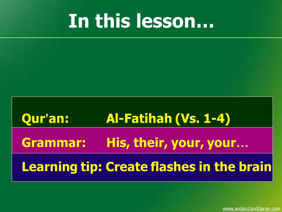 www.understandQuran.com In this lesson… Qur ' an:Al-Fatihah (Vs. 1-4) Grammar:His, their, your, your … Learning tip: Create flashes in the brain