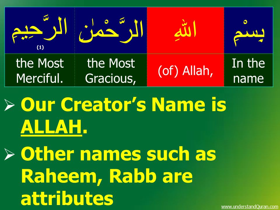 www.understandQuran.com  Our Creator's Name is ALLAH.  Other names such as Raheem, Rabb are attributes بِسْمِاﷲِالرَّحْمٰنِ الرَّحِيمِ (1) In the na