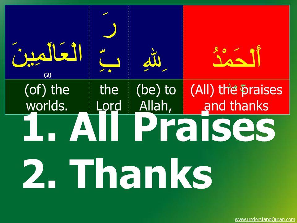 www.understandQuran.com أَلْحَمْدُ ِﷲِ رَ بِّ الْعَالَمِينَ (2) (All) the praises and thanks (be) to Allah, the Lord (of) the worlds. ح م د 1. All Pra