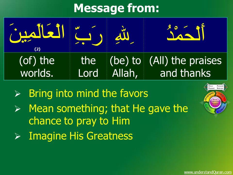 www.understandQuran.com أَلْحَمْدُ ِﷲِ رَبِّ الْعَالَمِينَ (2) (All) the praises and thanks (be) to Allah, the Lord (of) the worlds.