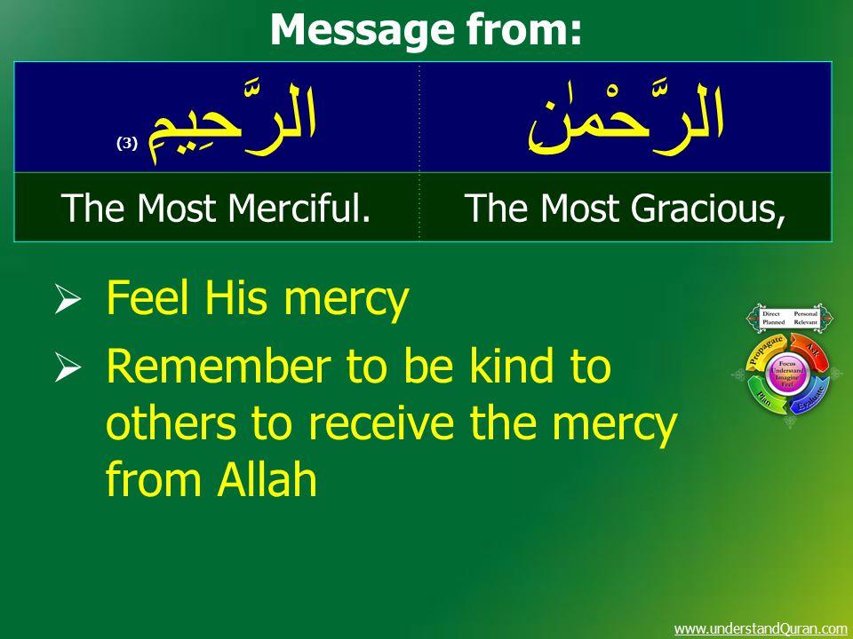 www.understandQuran.com الرَّحْمٰنِالرَّحِيمِ ( 3) The Most Gracious,The Most Merciful.