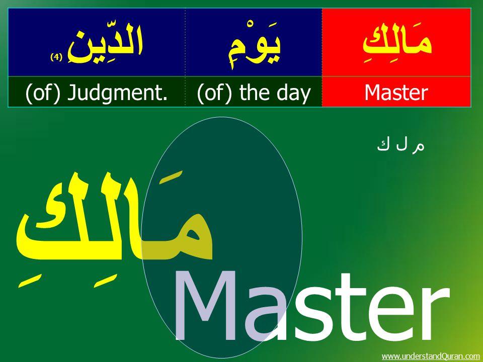 www.understandQuran.com مَالِكِيَوْمِالدِّينِ ( 4) Master(of) the day(of) Judgment. م ل ك Master مَالِكِ