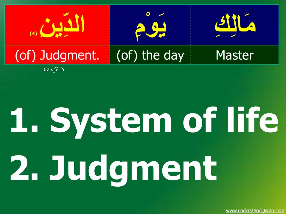 www.understandQuran.com مَالِكِيَوْمِالدِّينِ ( 4) Master(of) the day(of) Judgment. د ي ن 1. System of life 2. Judgment