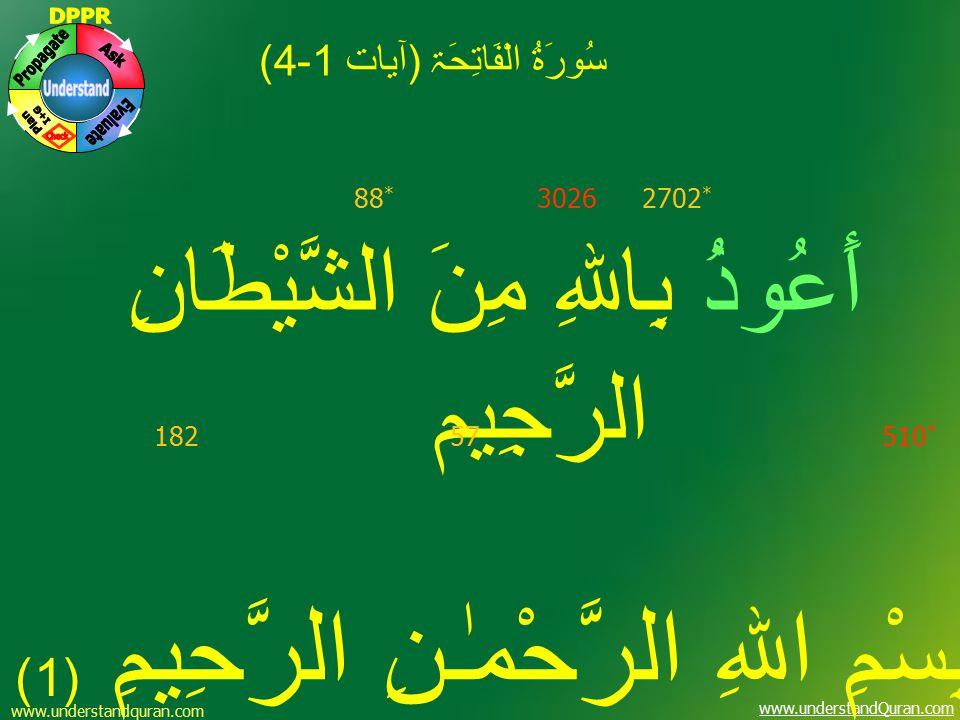 www.understandQuran.com سُورَۃُ الْفَاتِحَۃ (آيات 1-4) أَعُوذُ بِاللهِ مِنَ الشَّيْطَانِ الرَّجِيم بِسْمِ اللهِ الرَّحْمٰـنِ الرَّحِيمِ (1) 57182 302688 * 510 * 2702 * www.understandquran.com