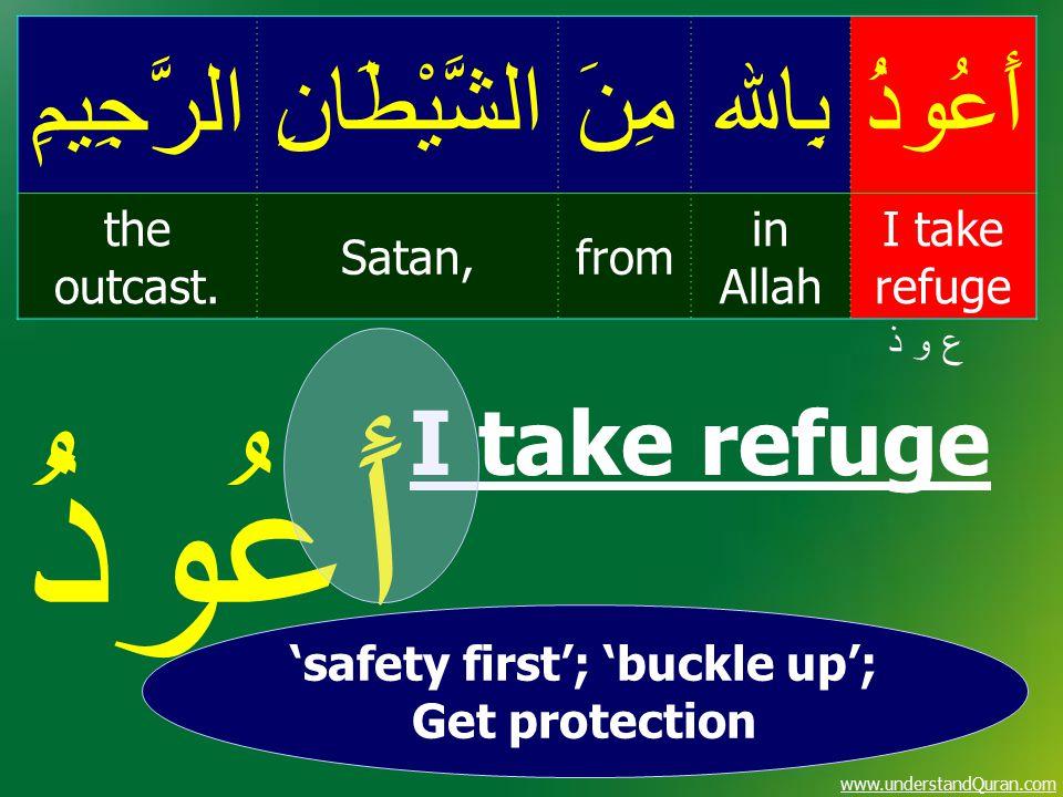 www.understandQuran.com أَعُوذُبِاﷲمِنَالشَّيْطَانِالرَّجِيمِ I take refuge in Allah fromSatan, the outcast. ع و ذع و ذ أَعُوذُ I take refuge 'safety