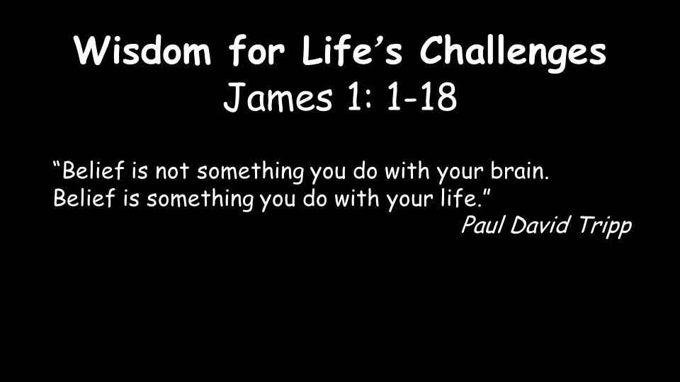 Wisdom for Life ' s Challenges James 1: 1-18 Belief is not something you do with your brain.
