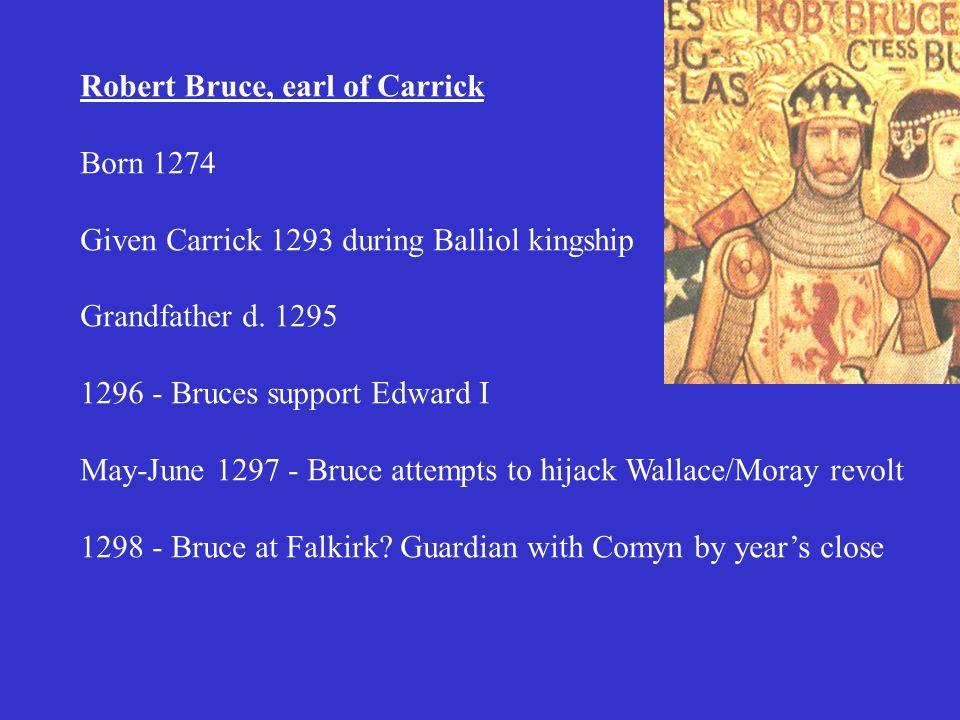 Robert Bruce, earl of Carrick Born 1274 Given Carrick 1293 during Balliol kingship Grandfather d.
