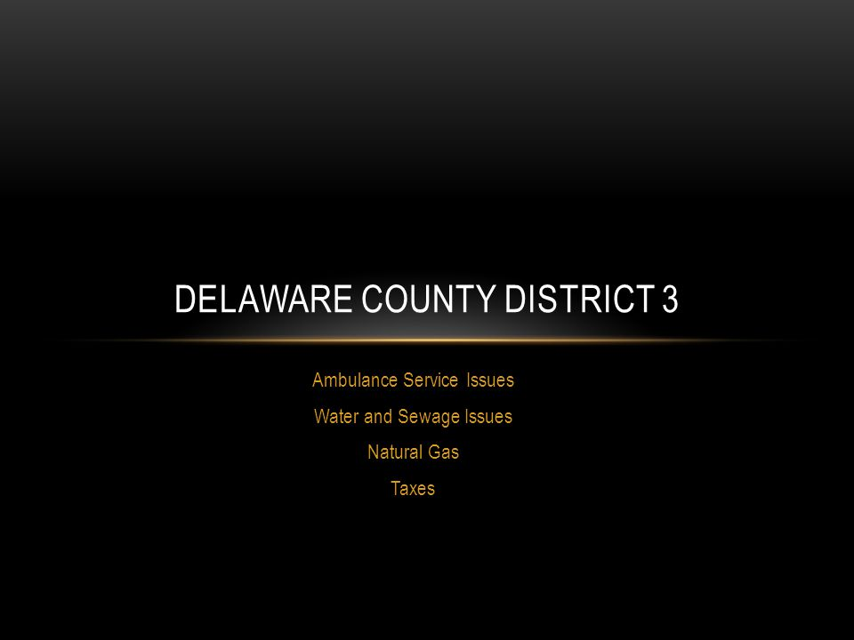 Ambulance Service Issues Water and Sewage Issues Natural Gas Taxes DELAWARE COUNTY DISTRICT 3