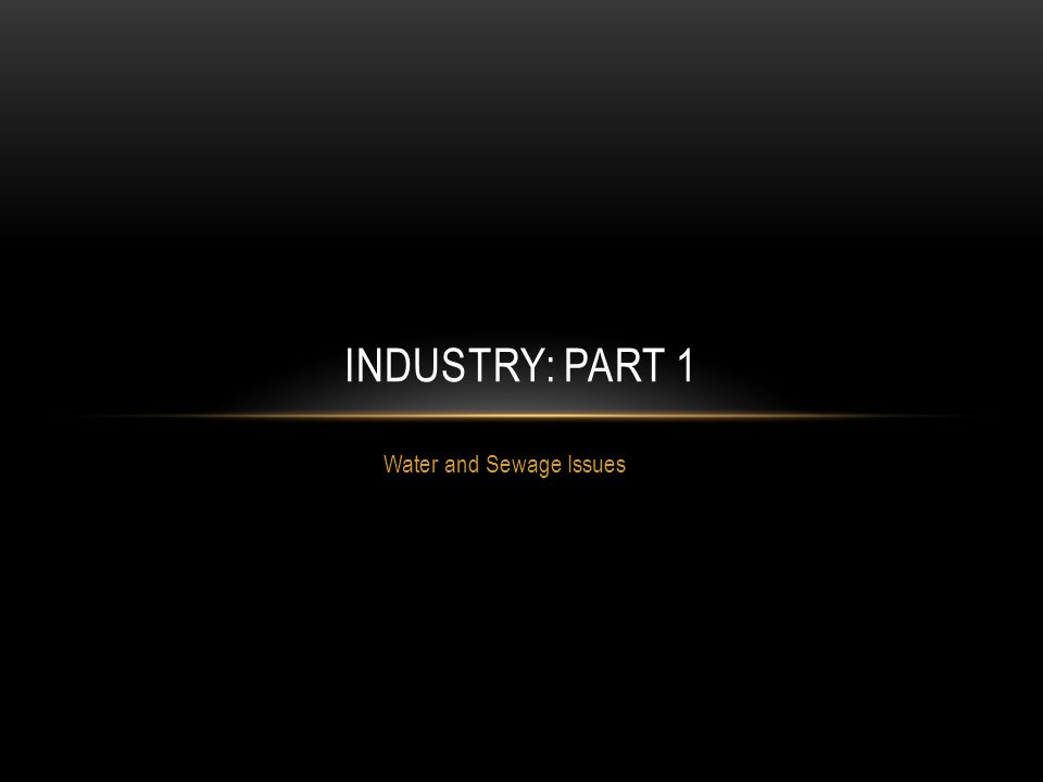 Water and Sewage Issues INDUSTRY: PART 1