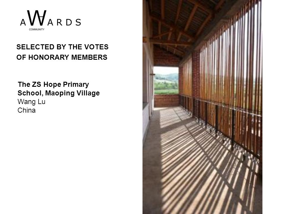 The ZS Hope Primary School, Maoping Village Wang Lu China SELECTED BY THE VOTES OF HONORARY MEMBERS