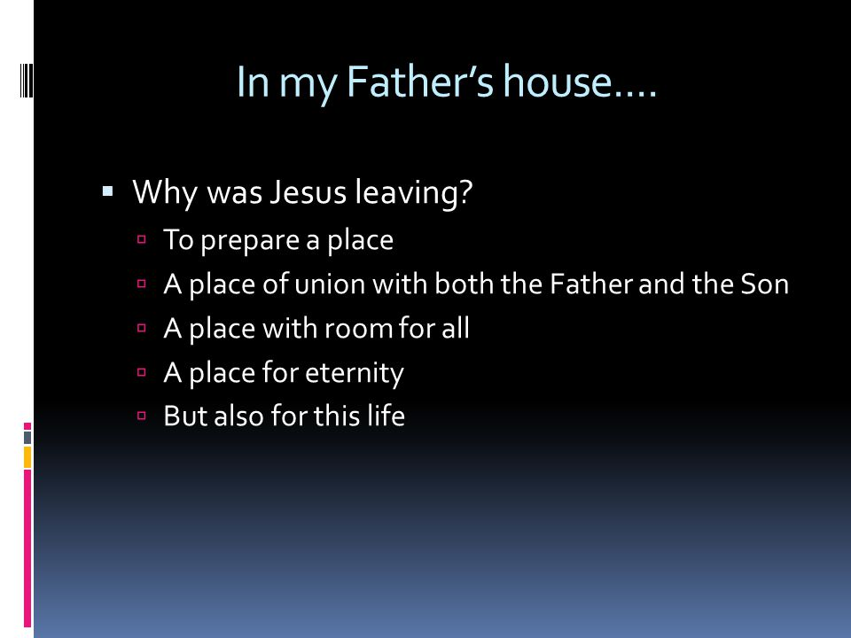 In my Father's house....  Why was Jesus leaving.