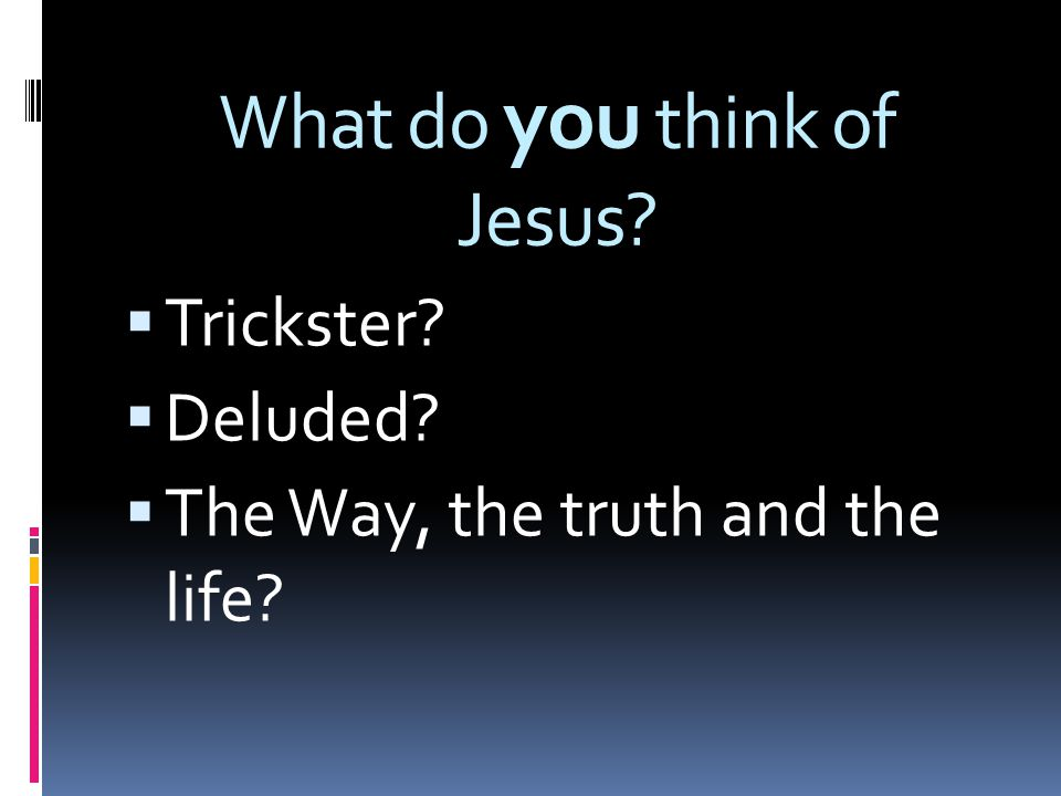 What do you think of Jesus  Trickster  Deluded  The Way, the truth and the life