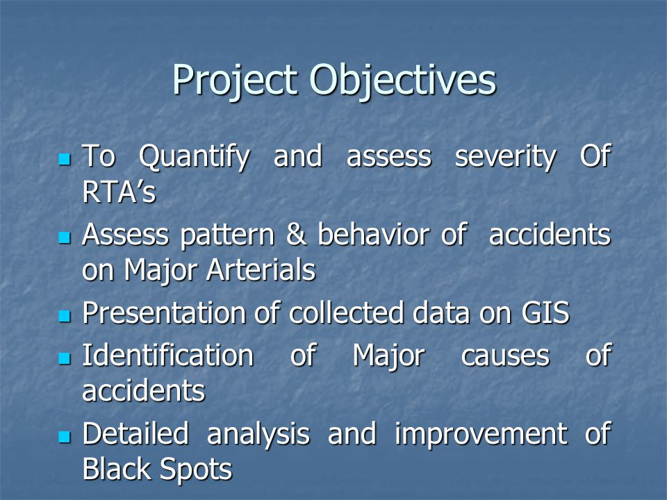 Black Spot Analysis The location where the number of accidents are high is termed as black spot The location where the number of accidents are high is termed as black spot