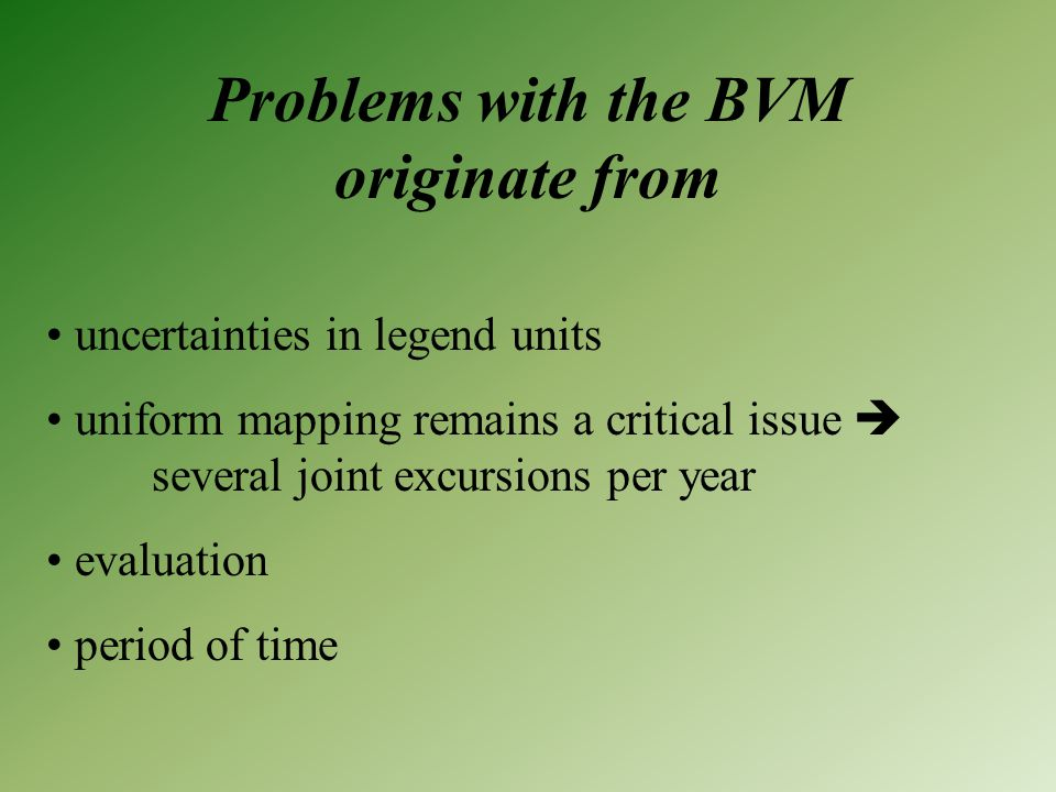 Problems with the BVM originate from uncertainties in legend units uniform mapping remains a critical issue  several joint excursions per year evaluation period of time