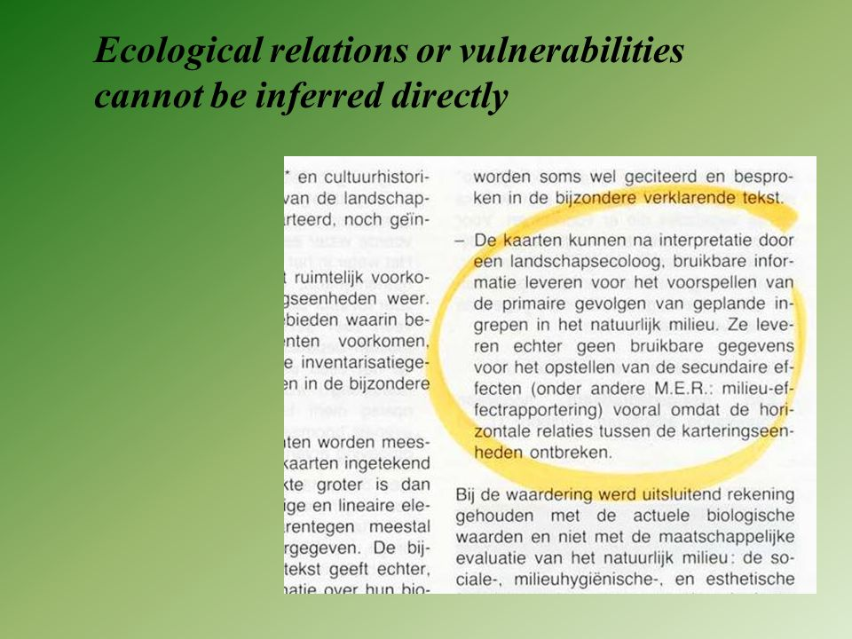 Ecological relations or vulnerabilities cannot be inferred directly