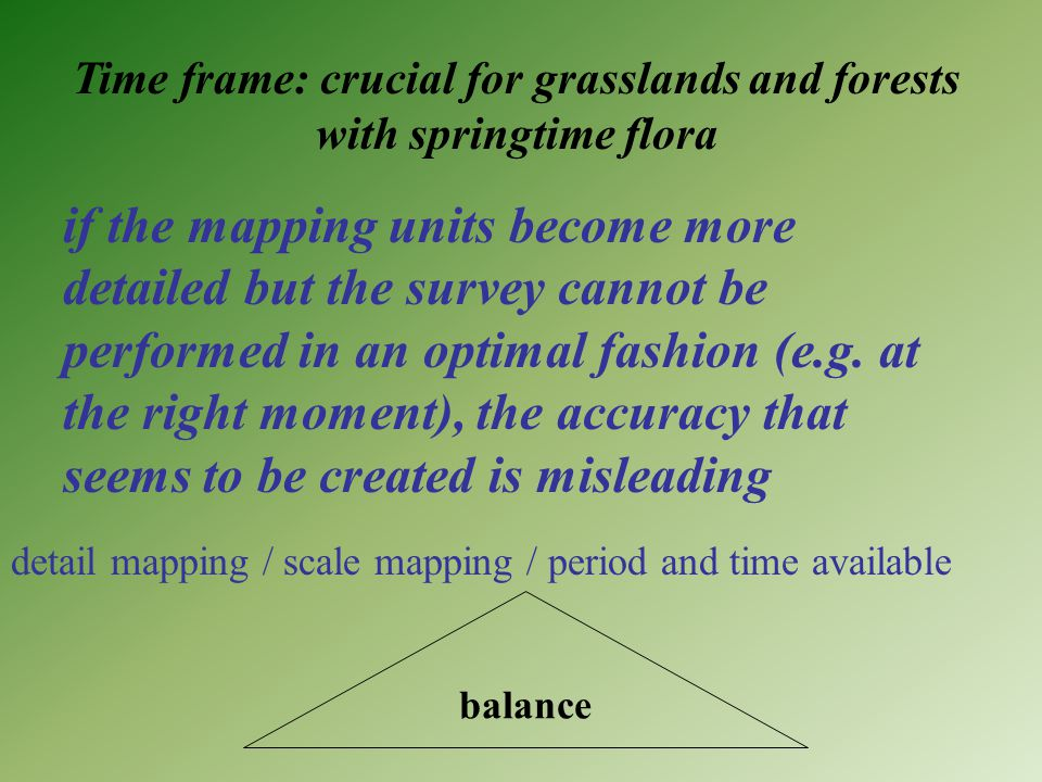 Time frame: crucial for grasslands and forests with springtime flora if the mapping units become more detailed but the survey cannot be performed in an optimal fashion (e.g.