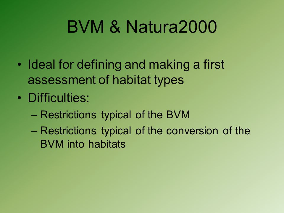 BVM & Natura2000 Ideal for defining and making a first assessment of habitat types Difficulties: –Restrictions typical of the BVM –Restrictions typica