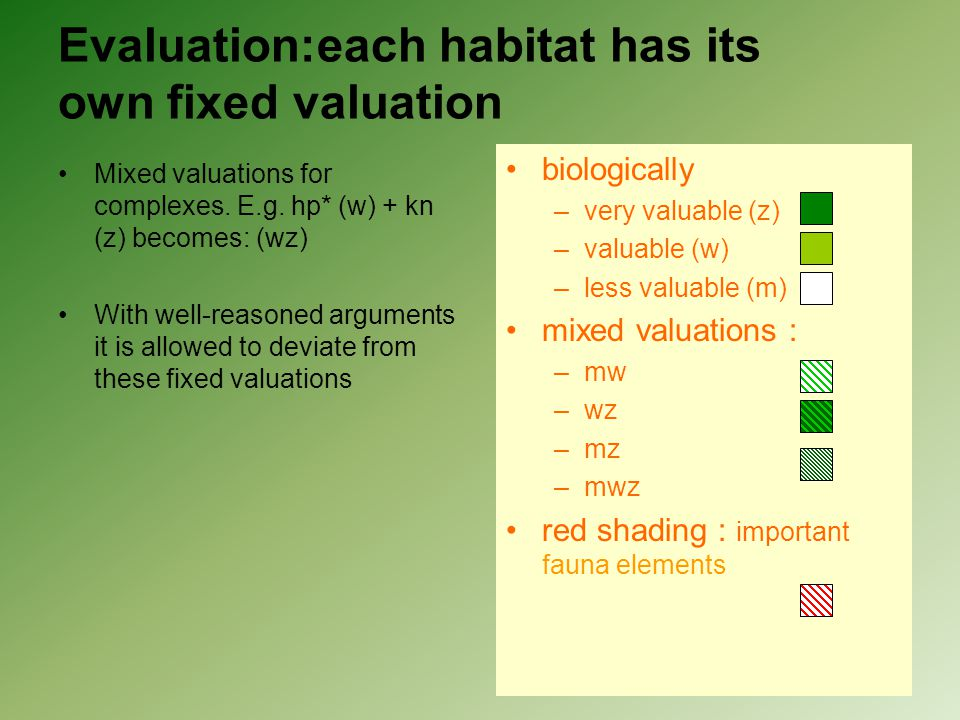 Evaluation:each habitat has its own fixed valuation Mixed valuations for complexes. E.g. hp* (w) + kn (z) becomes: (wz) With well-reasoned arguments i