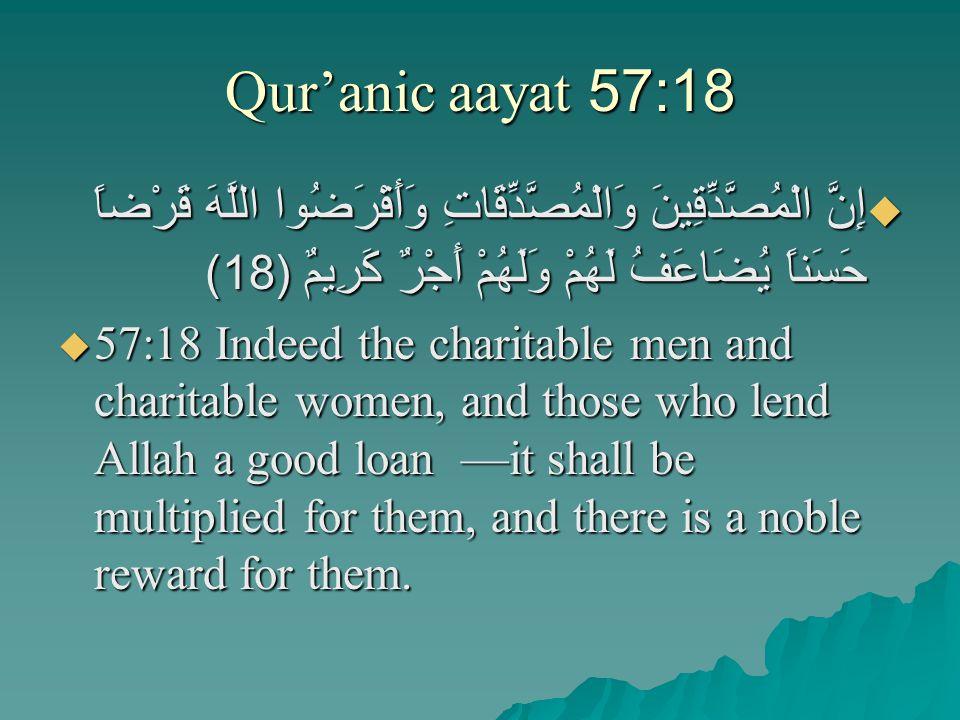 Qur'anic aayat 57:18  إِنَّ الْمُصَّدِّقِينَ وَالْمُصَّدِّقَاتِ وَأَقْرَضُوا اللَّهَ قَرْضاً حَسَناً يُضَاعَفُ لَهُمْ وَلَهُمْ أَجْرٌ كَرِيمٌ (18)   57:18 Indeed the charitable men and charitable women, and those who lend Allah a good loan —it shall be multiplied for them, and there is a noble reward for them.