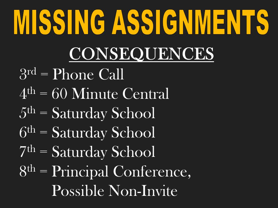 3 rd = 30 Minute Central 4 th = 60 Minute Central 5 th = Saturday School 6 th = Saturday School & SART 7 th = Saturday School & SARB 8 th = Conference with Principal & possible non-invite