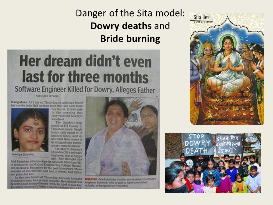 19 th c. Sati, Bali Danger of the Sita model: Dowry deaths and Bride burning