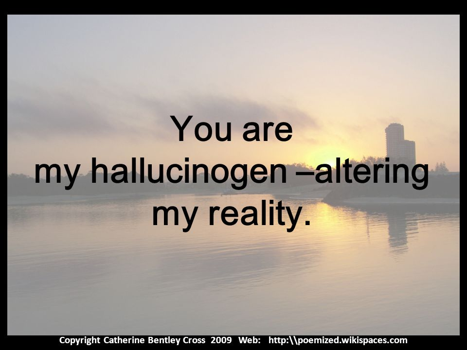 Copyright Catherine Bentley Cross 2009 Web: http:\\poemized.wikispaces.com You are my hallucinogen –altering my reality.